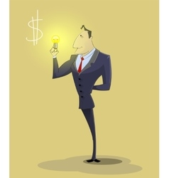 Big idea concept with man and light bulb vector