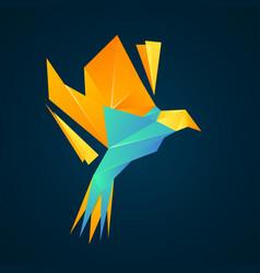 Bird logo low poly geometric colorful gradient vector
