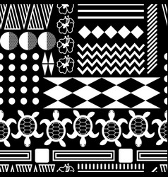 Black and white hawaiian culture ornament seamless vector