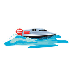 Boat speed motorboat yacht traveling in vector