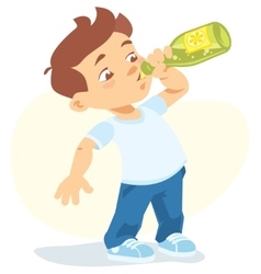 Boy drinking soft drink vector