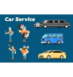 Car repair service concept banner vector image
