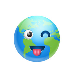 Cartoon earth face showing tongue and wink icon vector