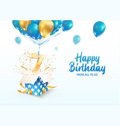 celebrating 7 th years birthday 3d vector image