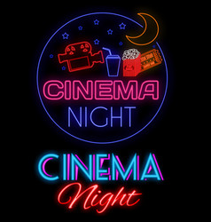 cinema night glowing neon sign vector image