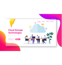 cloud computing technology landing page vector image