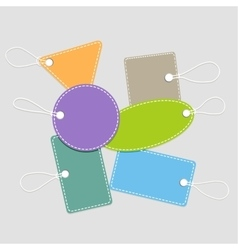 Collection of shopping tags with rope vector image