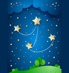 Countryside by night fantasy vector