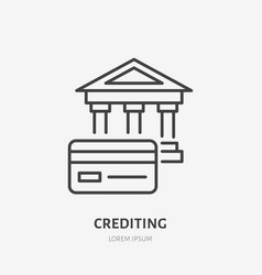 Credit card with bank flat line icon banking sign vector