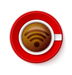Cup of coffee with Wi-Fi Symbol vector image