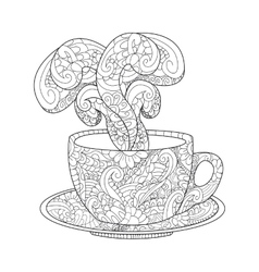 Cup with kofem tea and steam vector