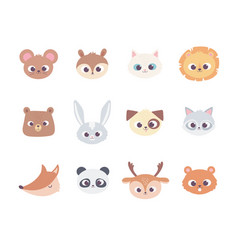 cute cartoon animals faces wild domestic pet vector image