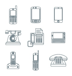 dark outline various phone devices icons set vector image