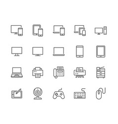 devices flat line icons set pc laptop computer vector image