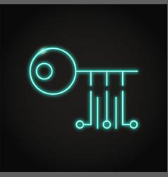 digital key icon in neon line style vector image