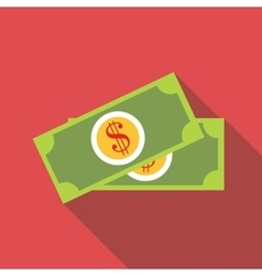 Dollar banknotes icon flat style vector