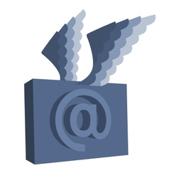 Email symbol with wings vector