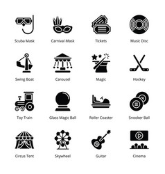 Entertainment glyph icons vector