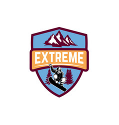 extreme emblem with snowboarder design element vector image