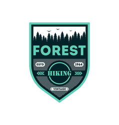 forest hiking vintage isolated badge vector image