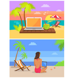 freelancer with laptop set vector image