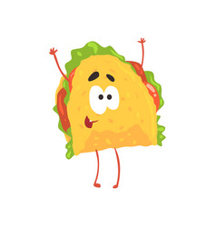 Funny taco cartoon character meat and vegetables vector