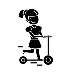 Girl on a scooter icon sig vector