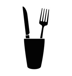 Glass with cutlery icon vector