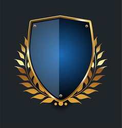 golden shield and laurel wreath retro design 02 vector image