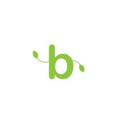 Green leaf leafs letter b alphabet logo design vector
