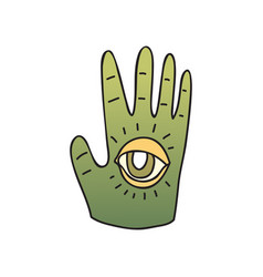 Green palm with seeing eye on white background vector