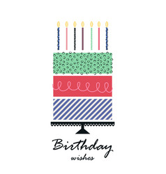 greeting card with hand drawn cake birthday vector image