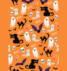 halloween ghost seamless pattern on orange vector image