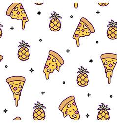 hawaii pineapple pizza seamless pattern cute vector image
