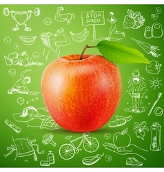 healthy lifestyle background with apple vector image