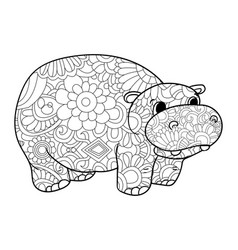hippopotamus coloring for adults animal vector image