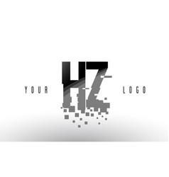 Hz h z pixel letter logo with digital shattered vector