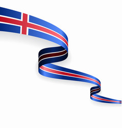 Icelandic flag wavy abstract background vector