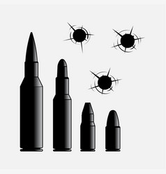 Icons different caliber bullets bullet vector