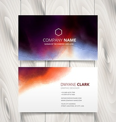 Ink watercolor business card design vector