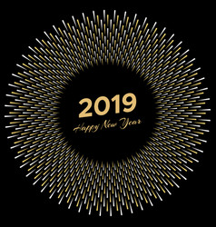 inscription happy new year 2019 with firework vector image