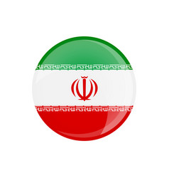 iran flag button on white vector image