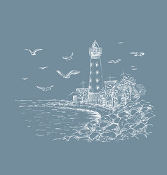 landscape lighthouse sea and seagulls sketch vector image
