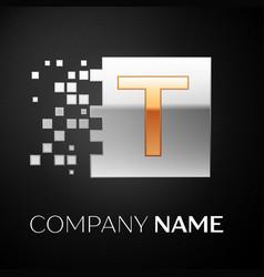 letter t logo symbol in the golden-silver square vector image