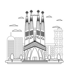 Line sagrada familia tower and nice cityscape vector