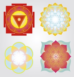 Mandalas and yantra set vector