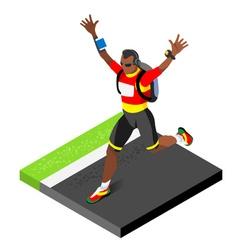 Marathon Runners Running Man 3D Isometric Image vector