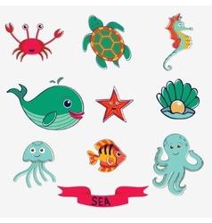 Marine creatures vector