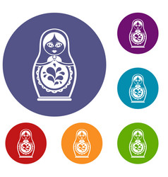 matryoshka icons set vector image