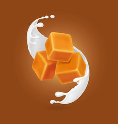 Milk splash and caramel cubes realistic vector